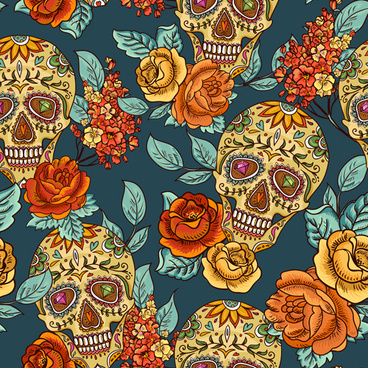 floral with skull vector seamless pattern