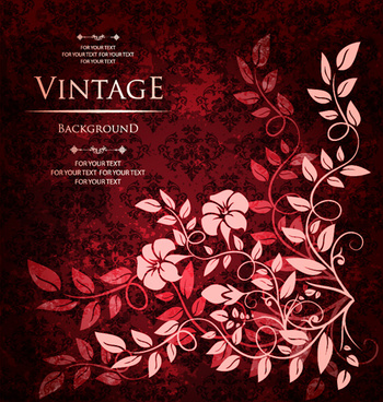 floral with vintage backgrounds vector