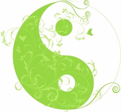 Floral yinyang symbol