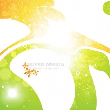 florals with abstract shapes shiny background vector