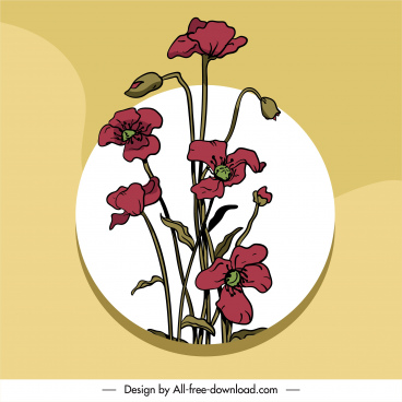 floras painting colored vintage handdrawn sketch