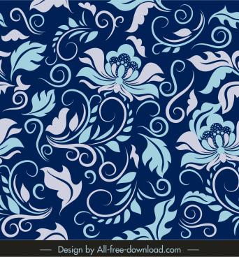 floras pattern elegant retro flat curves sketch