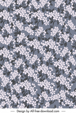 floras pattern template dark retro flat sketch