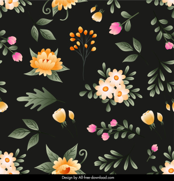 floras pattern template elegant dark colorful decor