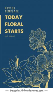 floras poster template classical handdrawn petals leaf sketch