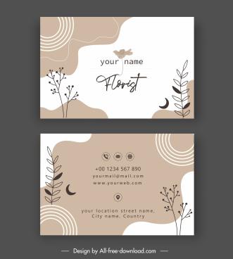 florist business card template elegant handdrawn floral decor