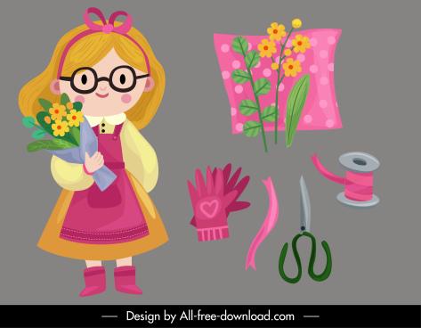 florist design elements cute girl tools sketch