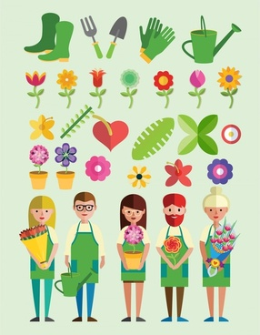 florists vector illustration with tools and flowers