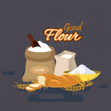 flour advertising banner bread cereal icons decor