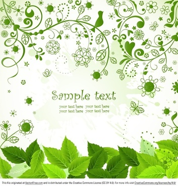 flourish leaf background vector