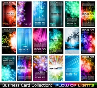 flow of lights business card design vector set