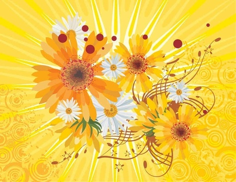Flower Abstract Yellow Vector Background