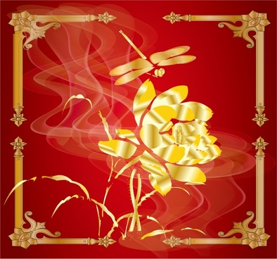 oriental background flower dragonfly icons red golden decor
