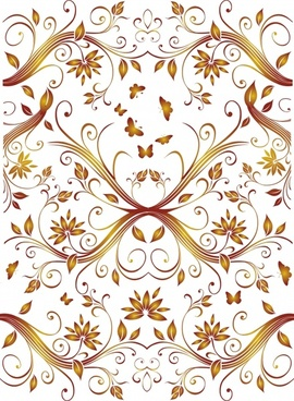 nature pattern template symmetrical leaves floral butterflies decor