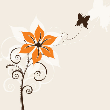 flower and butterfly vector graphic