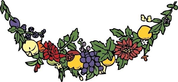 Flower And Fruit Festoon clip art