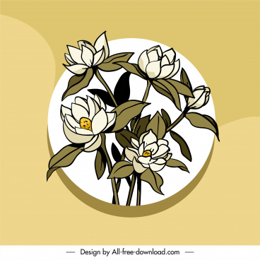flower background blooming sketch colored classical design