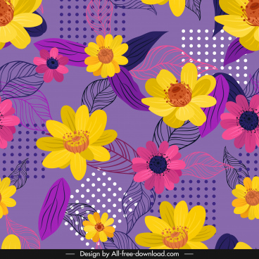 flower background multicolored petals classical handdrawn sketch