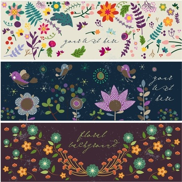 flower background sets with dark colorful design