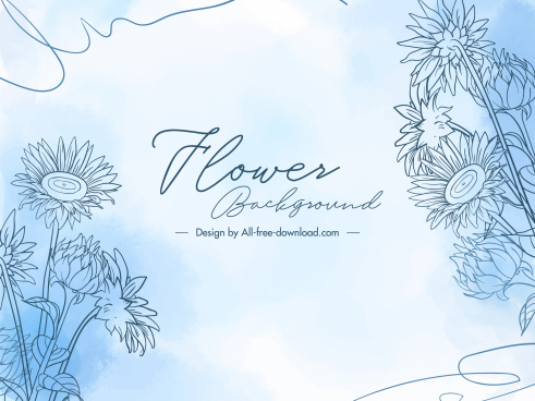 flower background template elegant bright handdrawn design