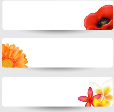 flowers background templates horizontal design colored petals icons