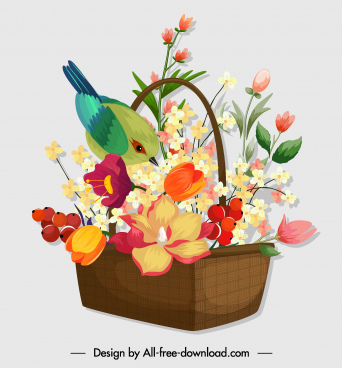 flower basket icon colorful classical design bird decor