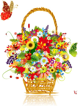 flower baskets and butterfly vector