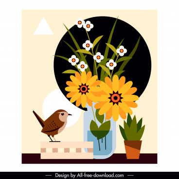 flower bird background multicolored classic flat design