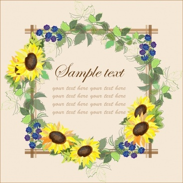card cover template colorful floral border decor