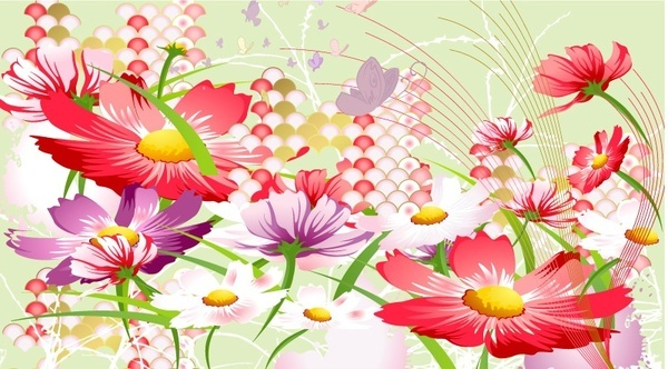 flowers background red violet floral icons design