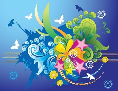 flower and butterfly vector illustration with colorful design