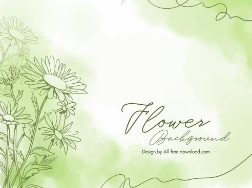 flower card background bright handdrawn petals decor