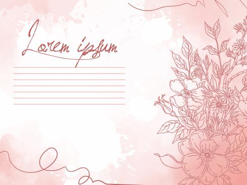 flower card background elegant classic handdrawn design