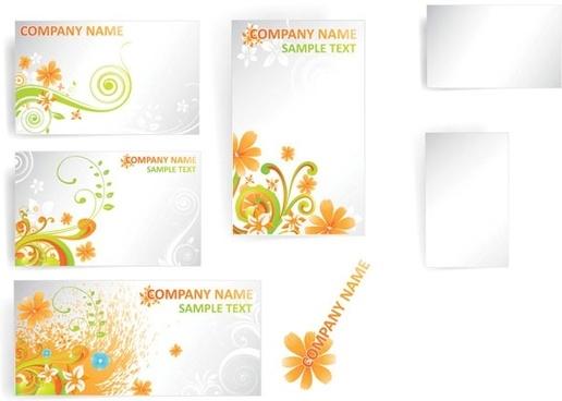 flower card template vector pattern