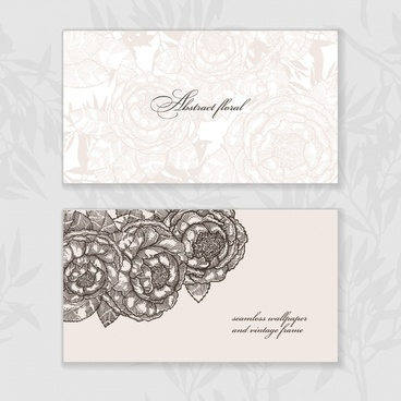 card template blurred black white flowers decor