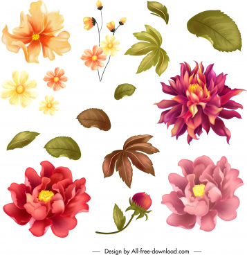 flower design elements colorful petals leaf icons