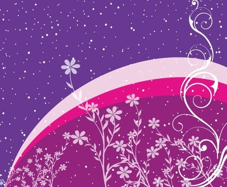 sparkling night sky background and swirled flowers decoration