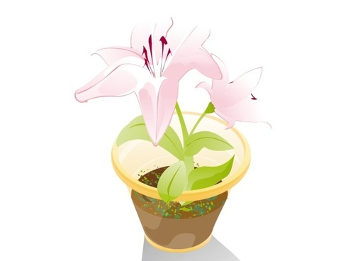 flower pot vector design with color style