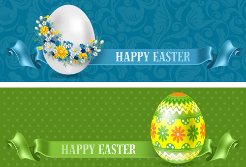flower egg and floral egg easter banner