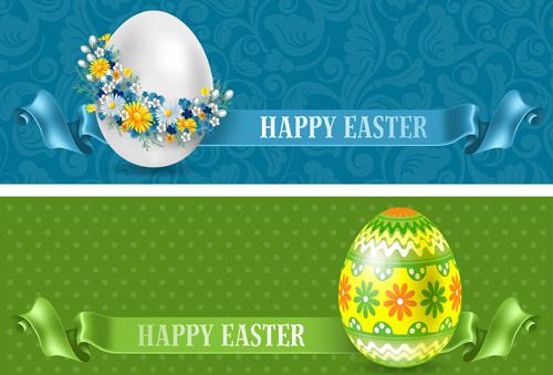 flower egg and floral egg easter banner