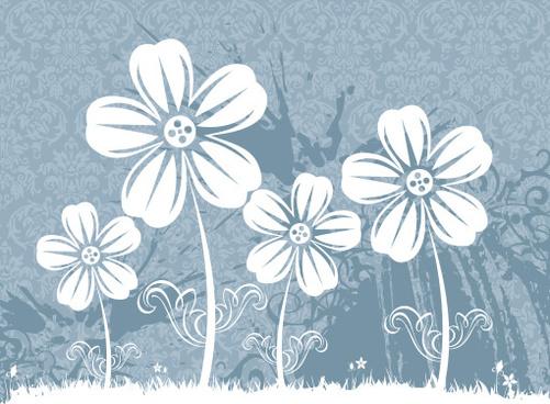 flower field vector graphic