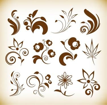flower floral design elements vector set