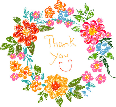flower frame thank you card