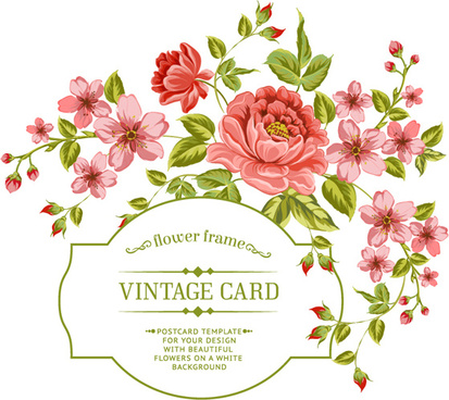flower frame vintage card vector