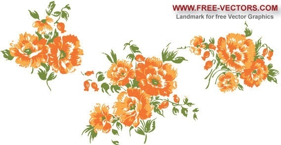 floral bunch pattern orange flowers decoration design