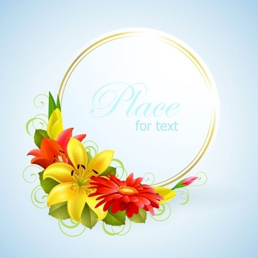 flower greeting cards 01 vector
