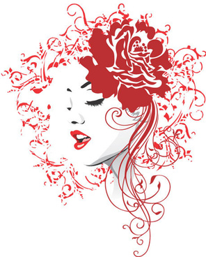flower heads and beautiful girl vector