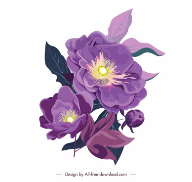 flower icon colored classical design blooming sketch