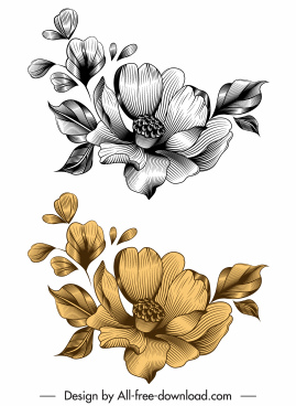 flower icon elegant 3d sketch