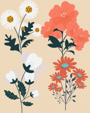 flower icons colored classical design